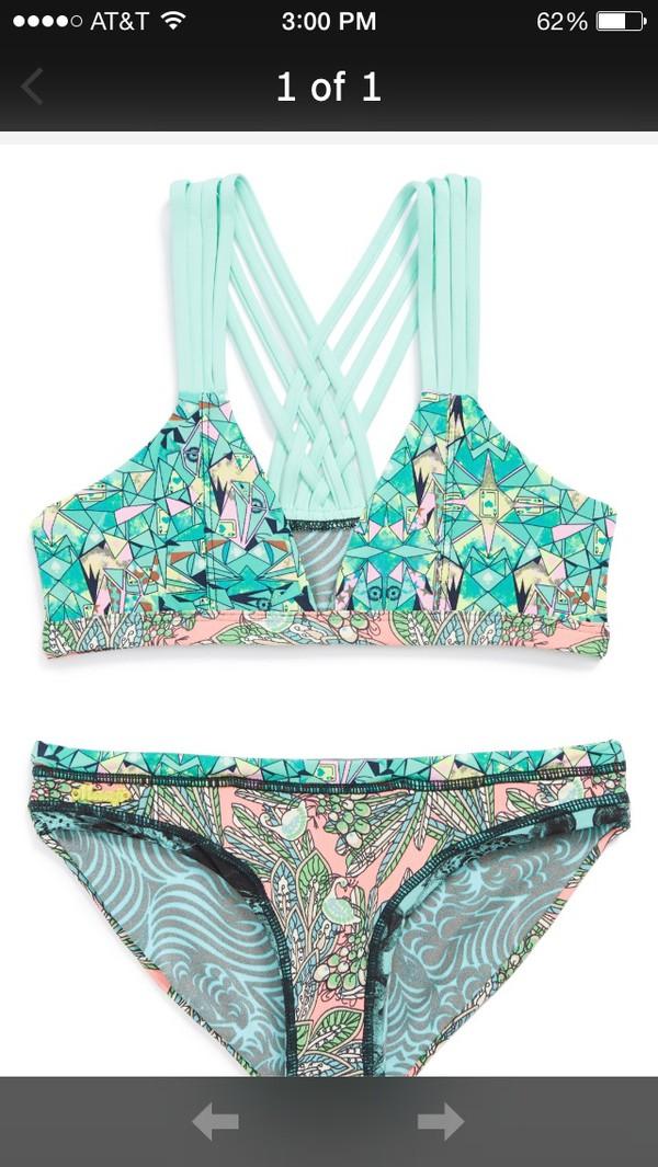 swimwear blue and green bikini