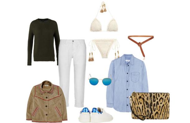 clochet blogger sweater belt outfit blue shirt bikini