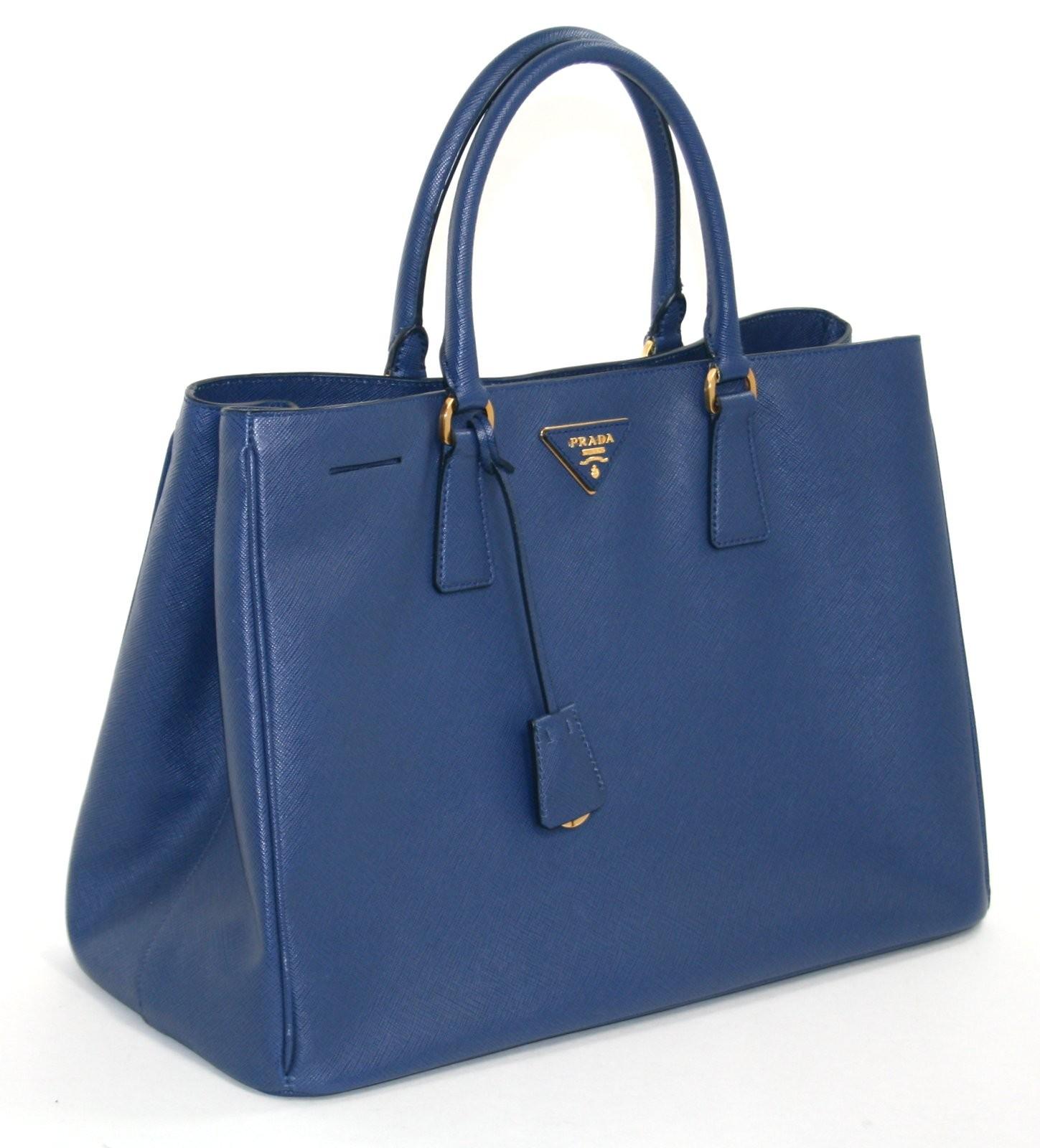 Prada Bluette Saffiano Leather Lux Tote Shopper | Portero Luxury