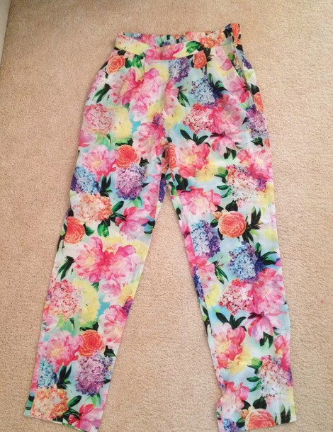 pants colorful colorful flowers bright