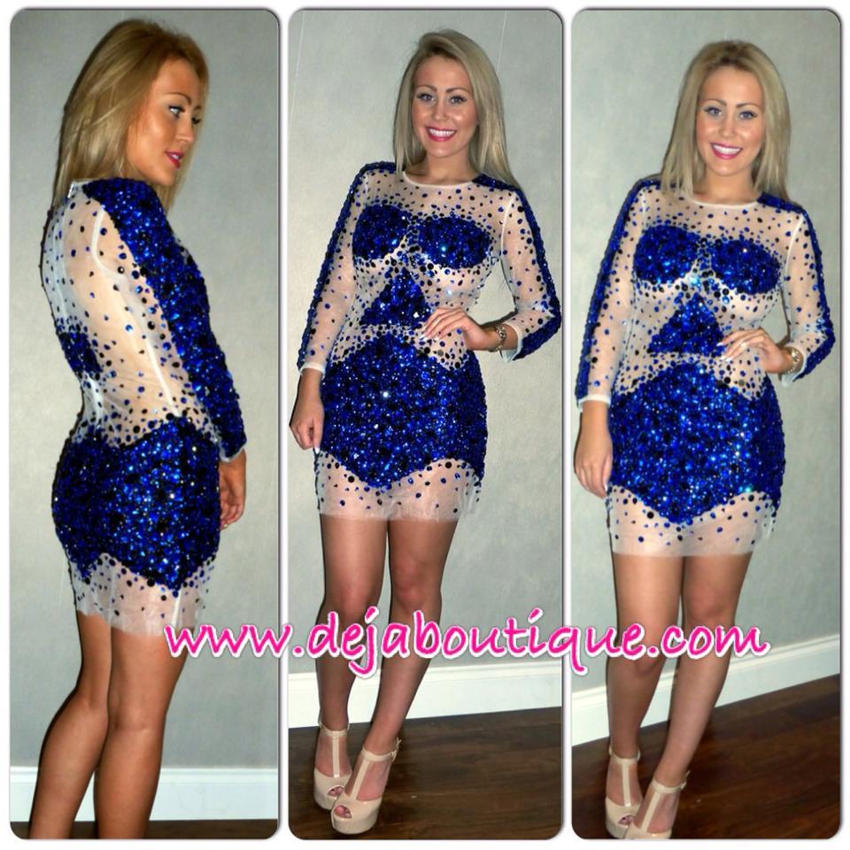 Deja Boutique. 'Azure' blue crystal rhinestone dress