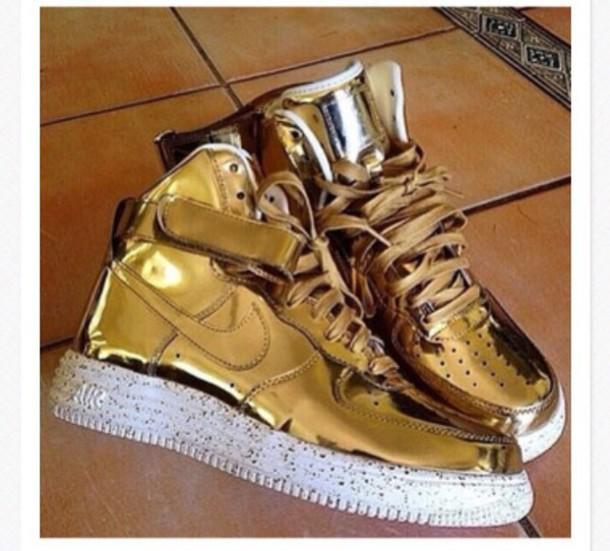 shoes nike air force 1 liquid gold sneakerhead sneakers metallic shoes