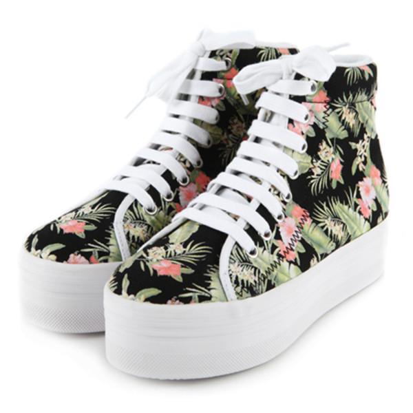 shoes noir blanc white floral platform shoes trainers