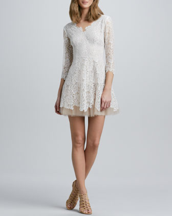 Nha Khanh Tulle-Skirt Lace Dress - Neiman Marcus
