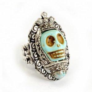 Designer Jewellery - Ollipop Turquoise Gothic Skull Adjustable Ring: Amazon.co.uk: Jewellery