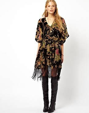 ASOS | ASOS Premium Kimono Dress With Floral Burnout at ASOS