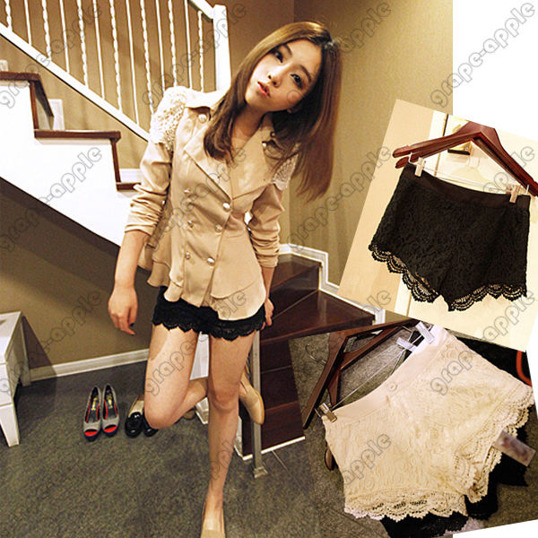 KDQ25 Fashion Chic Two Color Crochet Lace Shorts GWF 6054   eBay