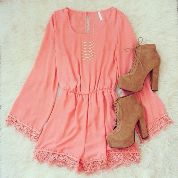 romper pink girl hippie boho gypsy summer spring short dress lace brown shoes romper long sleeves jumpsuit rose combinaison dentelle coral high heels lace dress pink romper
