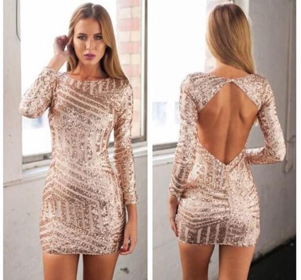 Long Sleeve Gold Sequin Dress | - 79.9KB