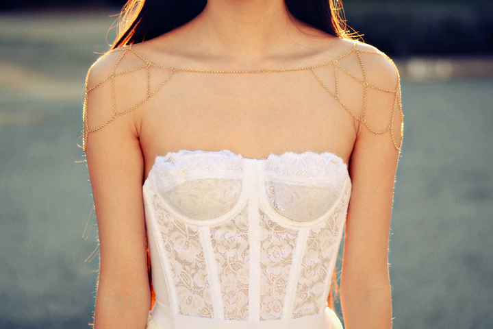 White Erotica Floral Lace Bustier from Poison on Storenvy