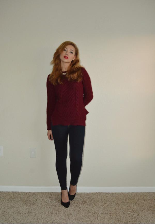 raspberry jam sweater jeans jewels shoes