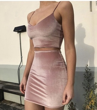 dress velvet nude dress pink dress cropped 2 piece dress set