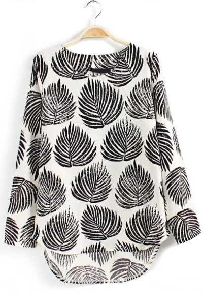 Leaves Graphic High-Low Blouse - OASAP.com
