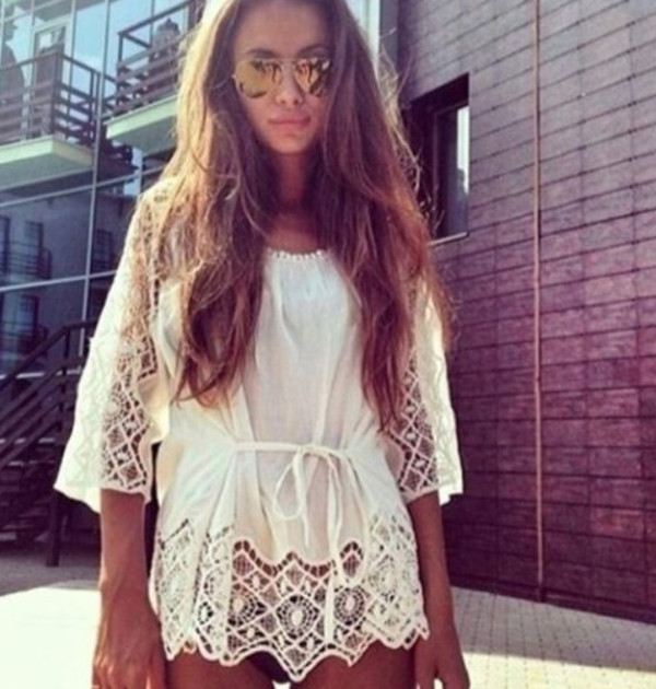 blouse cover up lace white tumblr hipster sunnies tan