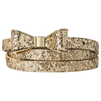 Mossimo Supply Co. Glitter Bow Skinny Belt - Gold : Target