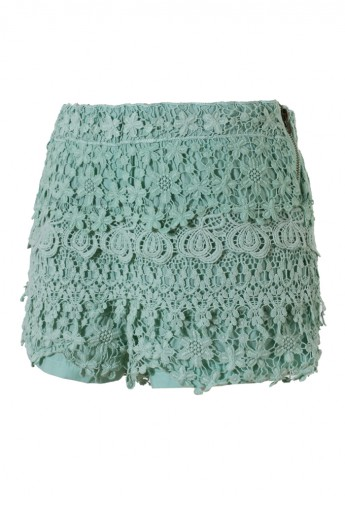 Floral Crochet Shorts in Teal - Retro, Indie and Unique Fashion