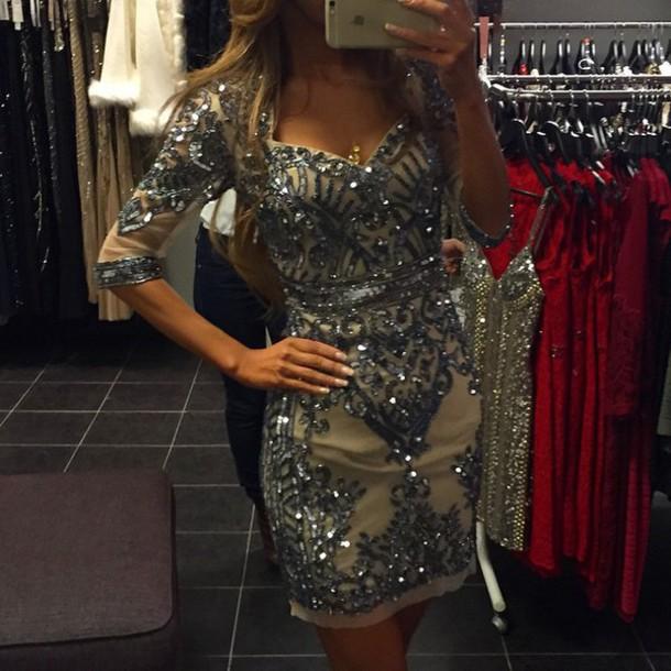 dress sequins beige sequin dress embellished embelished dress long sleeves long sleeve dress bodycon dress
