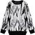 Black White Long Sleeve Tigrina Knit Sweater - Sheinside.com
