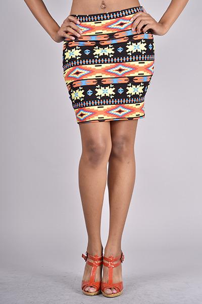 Multi Prints Skirt - Aztec Print Pencil Skirt | UsTrendy