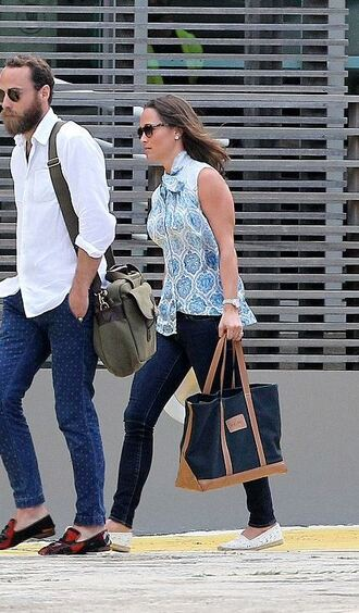 blouse top espadrilles flats pippa middleton bag jeans