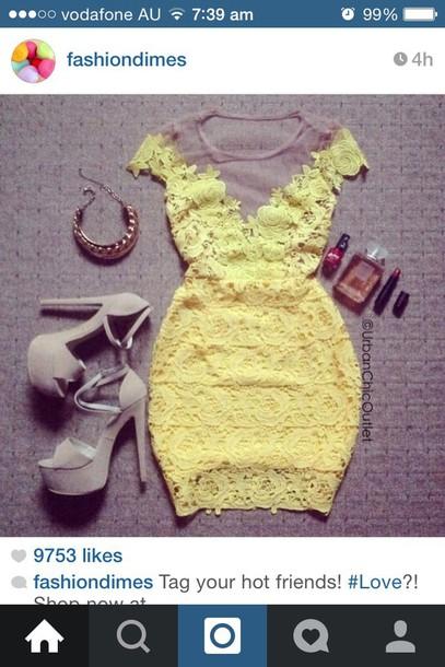 dress lace dress yellow dress mini dress