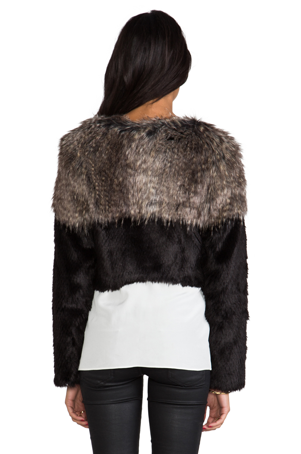 Twelfth Street By Cynthia Vincent Two Tone Chubby Faux Fur Pullover in Black | REVOLVE