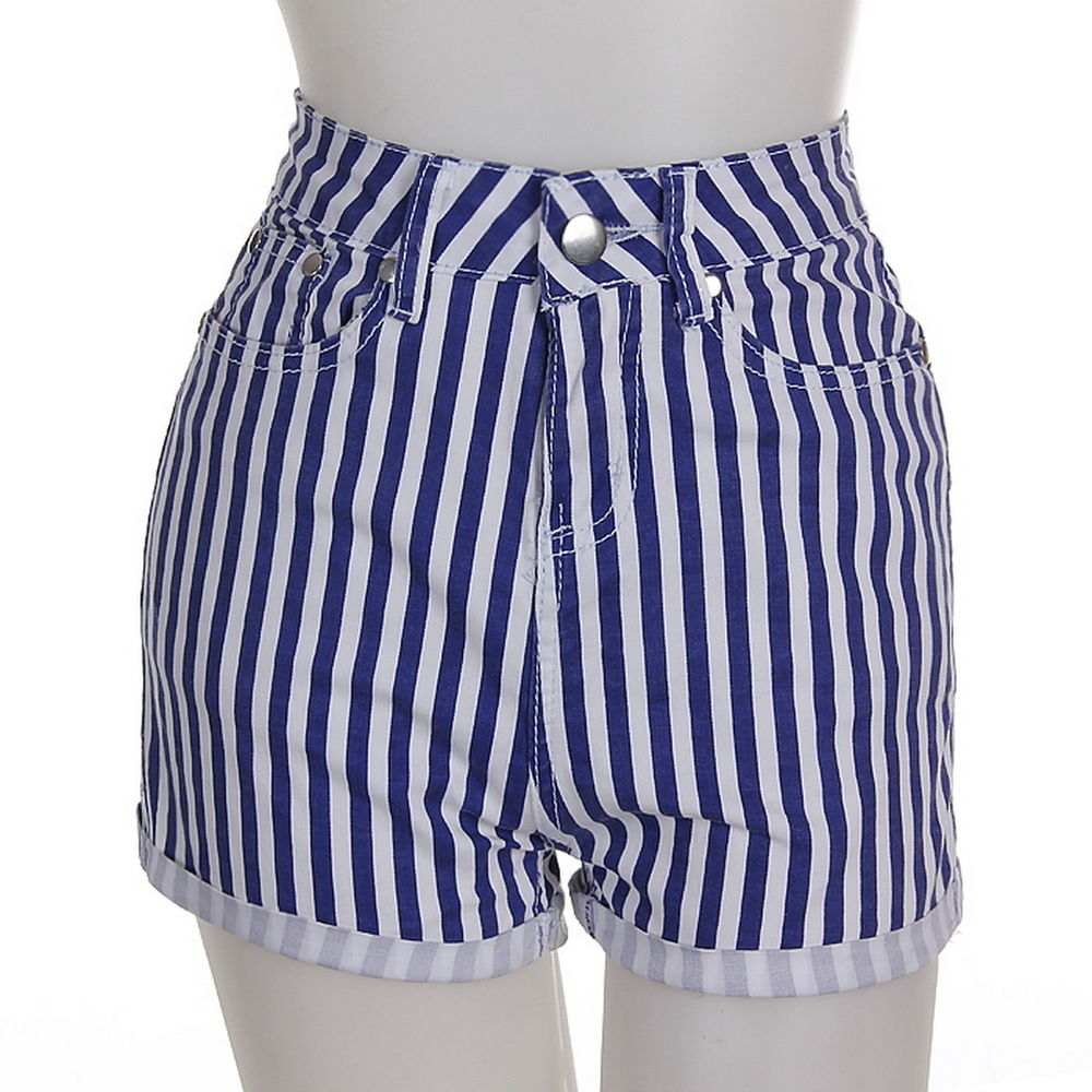 Girls High Waisted Navy White Candy Striped Denim Shorts Sexy Party Hot Pants | eBay