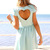 Blue Party Dress - Mint Heart Cutout Back Dress | UsTrendy