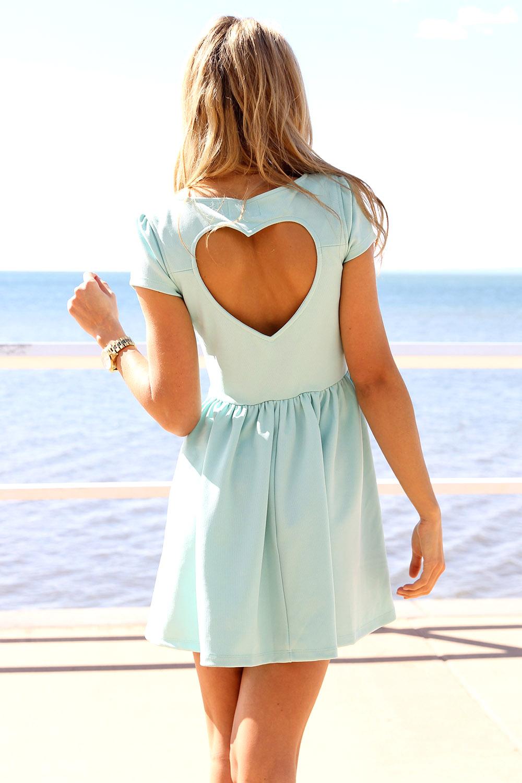Blue Party Dress - Mint Heart Cutout Back Dress | UsTrendy