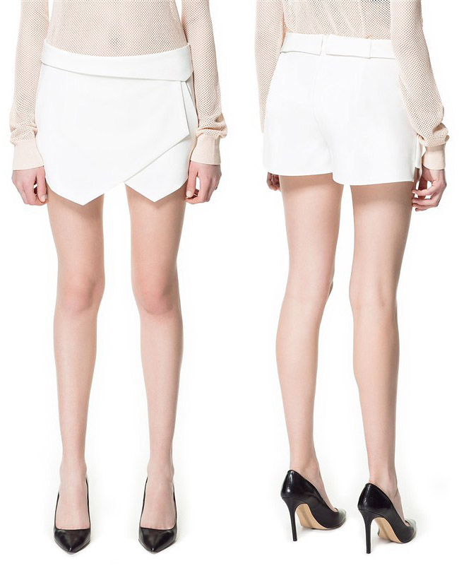 S M L Women Pocket Retro Irregular Shorts Pants Skirt Culotte White Black 3011 O | eBay