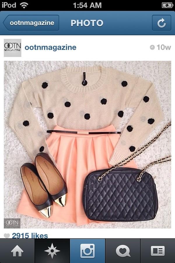 sweater purse pink skirt coral skirt