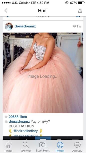 dress prom dress pink dress poofy dress