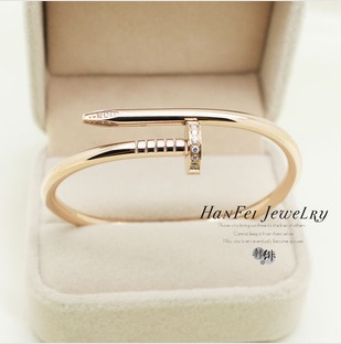 Free shipping 2013 Classic Brand Designer Rose gold planted Nail Screw titanium Bangles bracelet With Crystal Jewelry for Women on Aliexpress.com