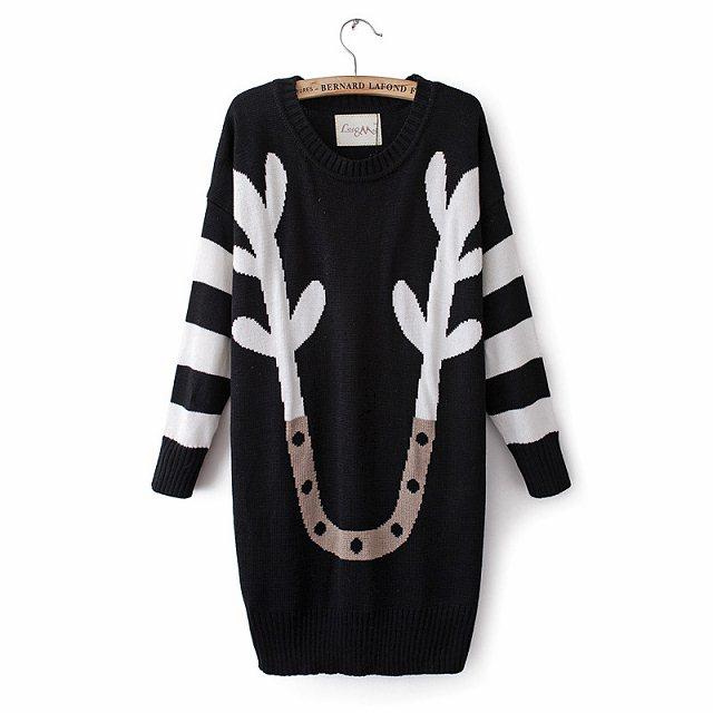 Retro Round Collar Pullover Sweater on Luulla