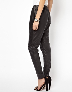 Just Female | Just Female Relaxed Leather Pants at ASOS