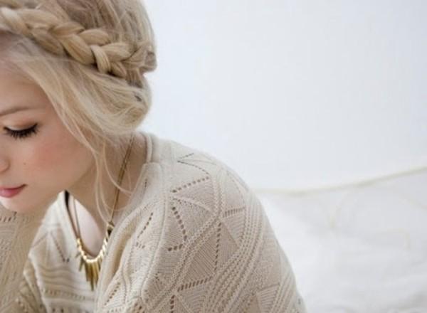 sweater white white sweater knitted sweater headband flower crown flower headband