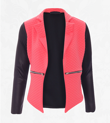 Coral Quilted Zip Blazer - Need That Look
