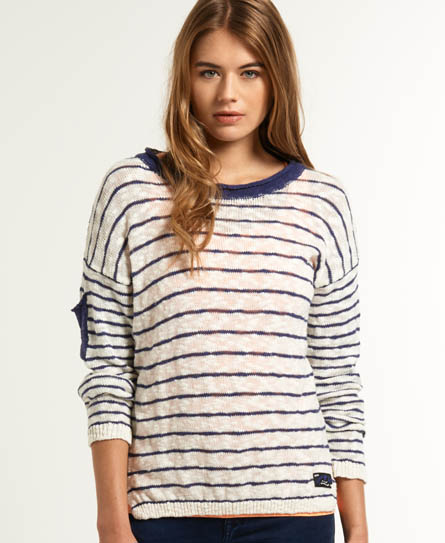 Womens - Slub Breton Knit in Optic/blue   Superdry