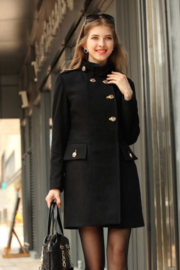 OSA Stand Collar Wool Coat with Epaulette [FEBK0462] - PersunMall.com