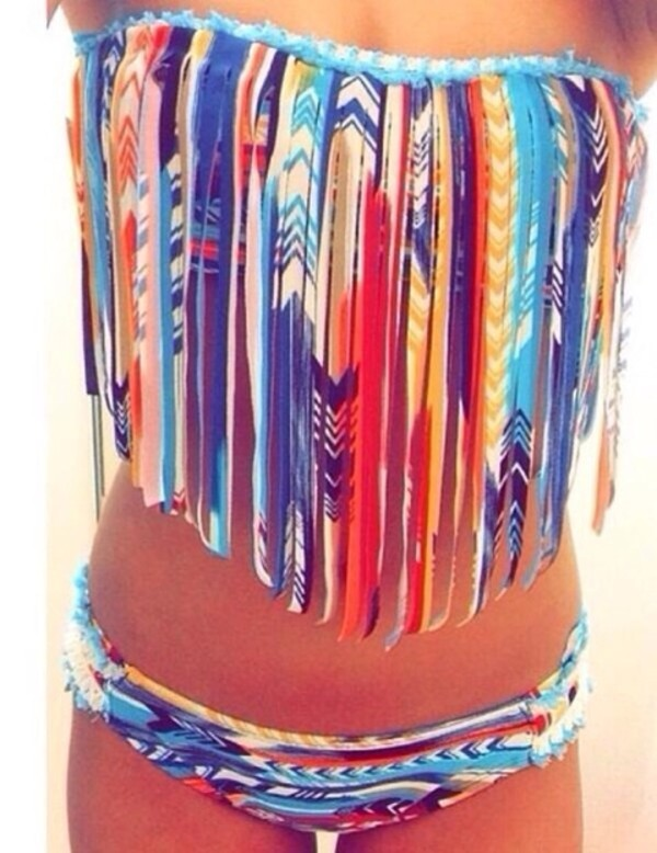 bikini fringe bikini colorful patterned swimwear bikini bottoms swimwear layers blue yellow dress swimwear two piece