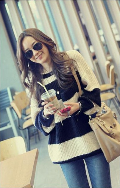 Free shipping 2013 Women's Fashion Striped Pullover Crochet Sweater Casual Plus Size Tops Knitted Jumper For Handsome Maternity-in Pullovers from Apparel & Accessories on Aliexpress.com