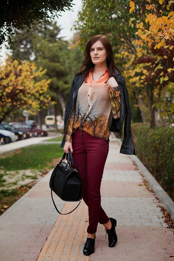 the bow-tie blouse jeans jacket bag