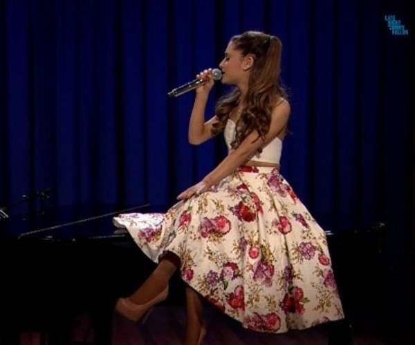 skirt ariana grande floral flowers floral skirt white crop tops