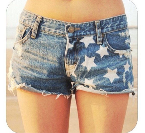 blue jean shorts white stars cut off shorts shorts