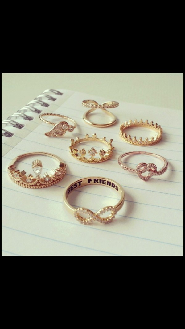 jewels gold ring vintage gold gorgeous infinity ring heart jewelry crown ring double ring double rings cute jewelry gold jewelry