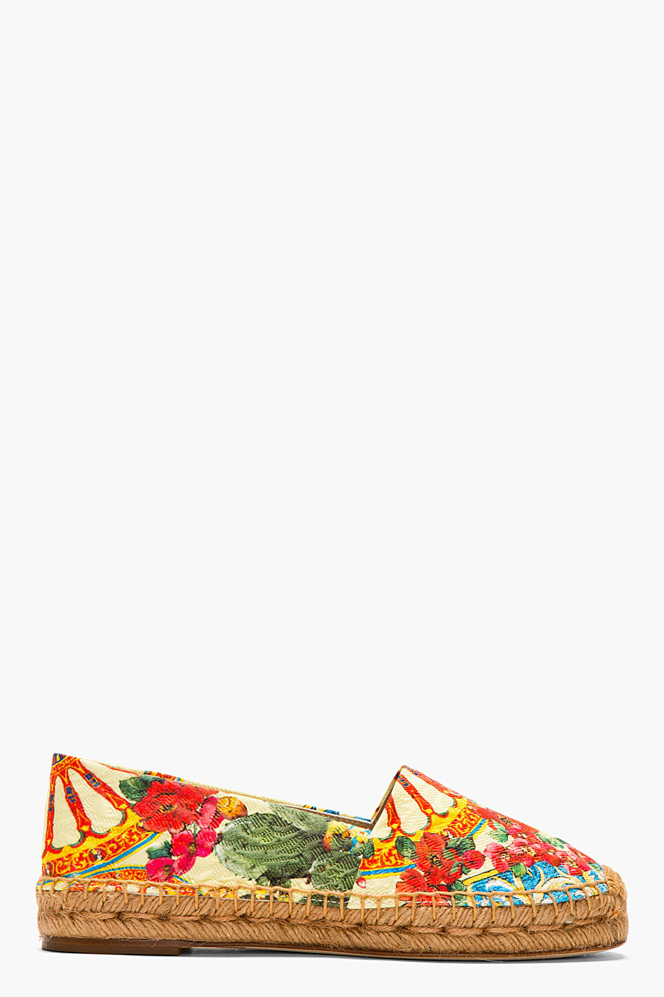 dolce and gabbana yellow floral print espadrilles