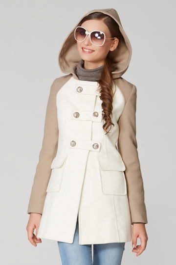 Color Block Double Breasted Hooded Coat [FEBK0467]- US$ 60.99 - PersunMall.com