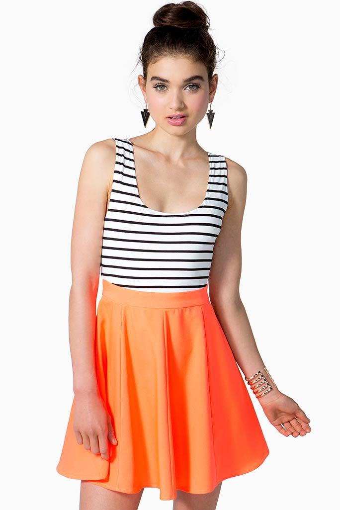 Stripe 2-Fer Skater Dress