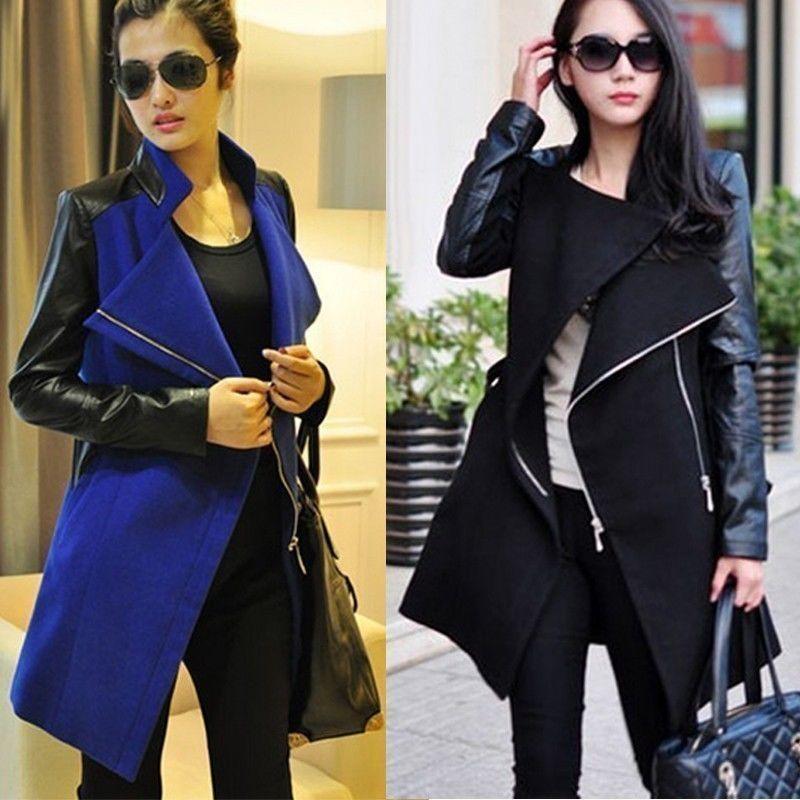 NEW Women's long warm pu leather sleeve jacket coat parka trench Windbreaker ★★   eBay