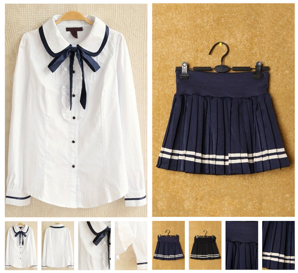 shirt sailor white japanese school girl skirt kawaii